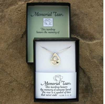 Memorial Tear, Sterling Silver Sculpted Pendant   -