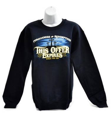 This Offer Expires Sweatshirt, Navy,  Large  -