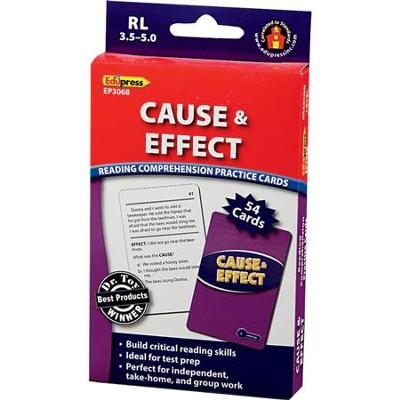 Reading Comprehension Practice Cards: Cause & Effect, Blue Level  -