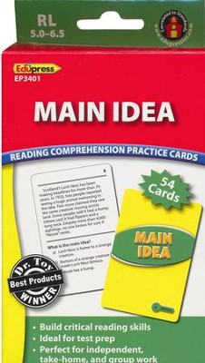 Reading Comprehension Practice Cards: Main Idea, Green Level  -
