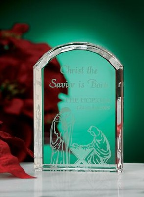 Christ The Savior Is Born, Personalized Crystal Plaque   -
