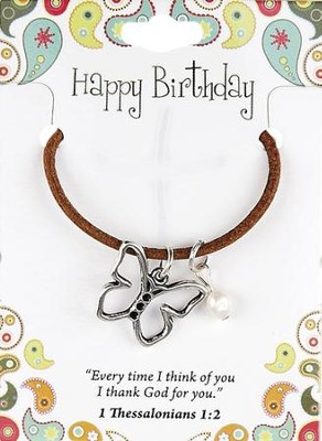 Happy Birthday Leather Necklace, Butterfly Charm   -