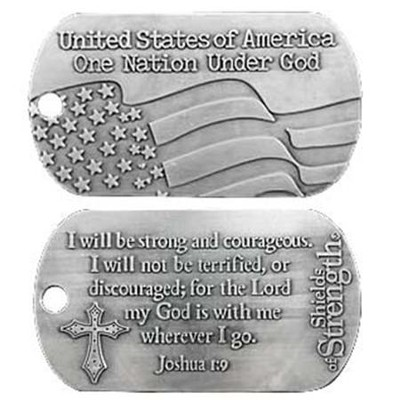 USA One Nation Under God Antique Finish Dog Tag-Joshua 1:9  -