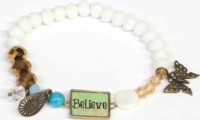 Beaded Bracelet with Butterfly Charm, Believe, White  -