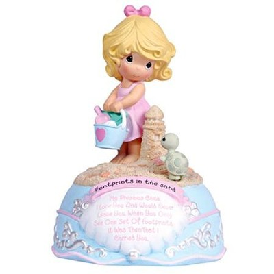 Footprints In The Sand Girl Musical Figurine, Precious Moments  -