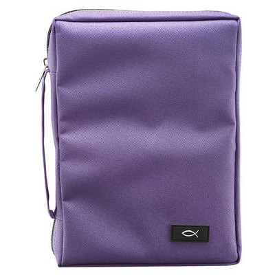 Polyester Canvas Bible Cover with Ichthus, Purple,  Large  -