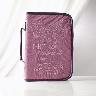 Embroidered Serenity Prayer Bible Cover, Purple, Large   -