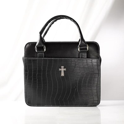 Croc Embossed Purse Bible Cover, Black, Large   -