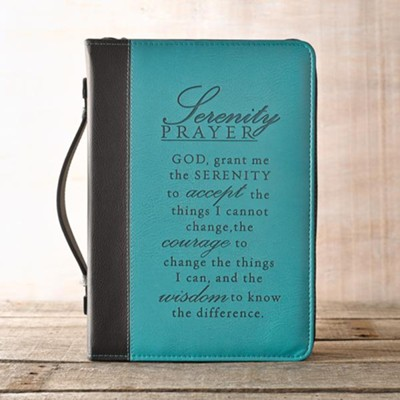 LuxLeather Serenity Prayer Bible Cover, Large   -