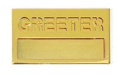 Small Welcome Badge: Brass Greeter with Cut Out  -