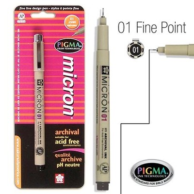 PIGMA Micron 01, Fine Bible Note Pen, Black (Blister Pack)   -