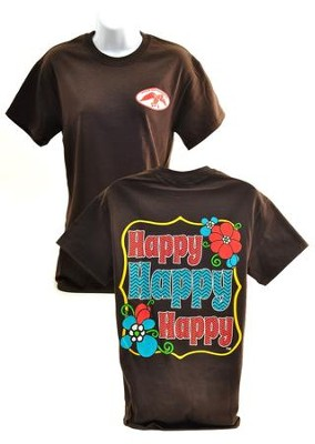 Happy Happy Happy Shirt, Brown,  XX-Large  -