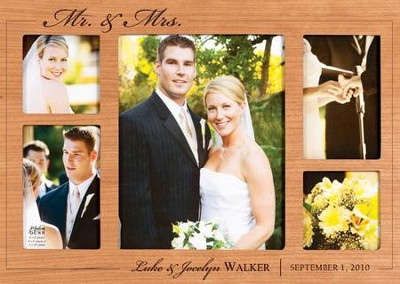 Personalized, Mr and Mrs Photo Frame, Cherry   -