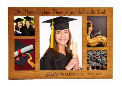Personalized, Cherry Wood Graduation Photo, Large   -