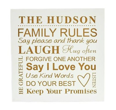 Personalized, Wooden Sign, 10x10, Family Rules, White   -