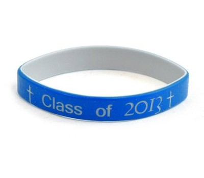 Personalized, Class of, Wristband With Cross, Blue   -
