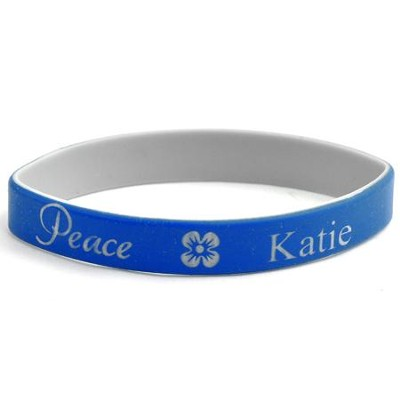 Personalized, Peace Wristband, With Name And Flower, Blue  -