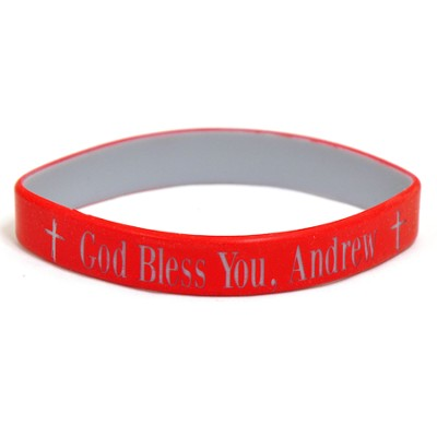 Personalized, God Bless You, Wristband, Bold, Red   -