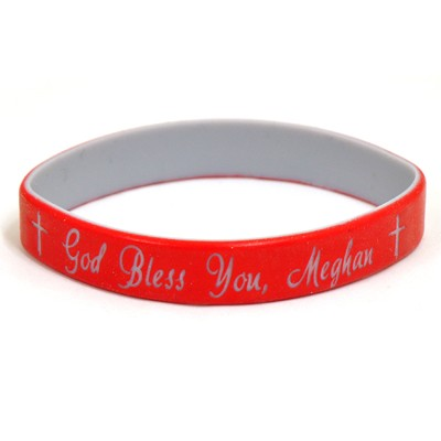 Personalized, God Bless You, Wristband, Script, Red   -