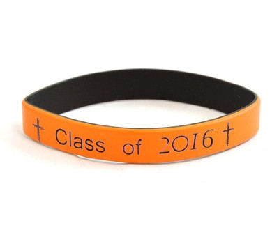 Personalized, Class Of, Wristband, With Cross, Orange   -