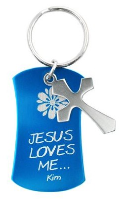 Personalized, Keyring with Cross Charm, Blue   -