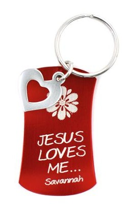 Personalized, Keyring with Heart Charm, Red   -