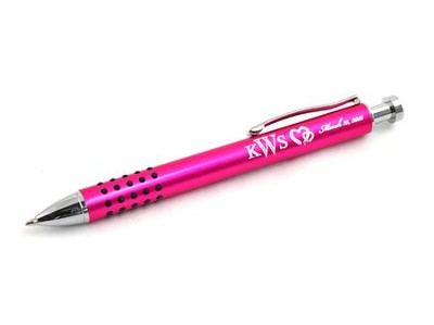 Personalized, Two Hearts Pink Metal Pen With Grip   -