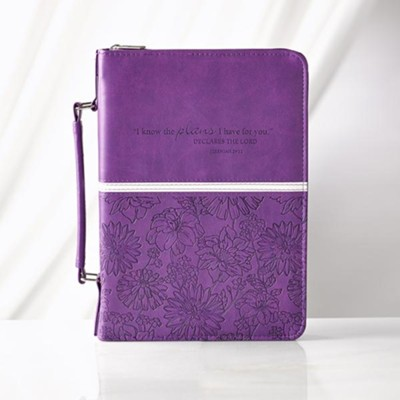 I Know the Plans Bible Cover, Purple, Large  -
