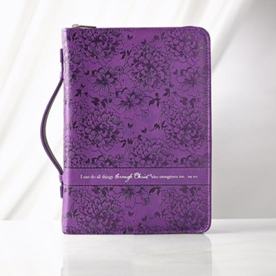 I Can Do All Things Bible Cover, Purple, Medium  -