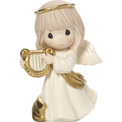 Make Sweet Melody, Angel with Harp Figurine  -