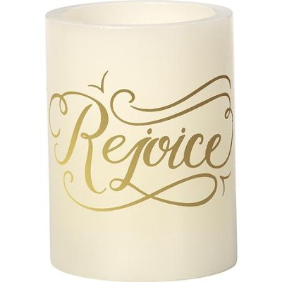 LED Rejoice Pillar Candle  -