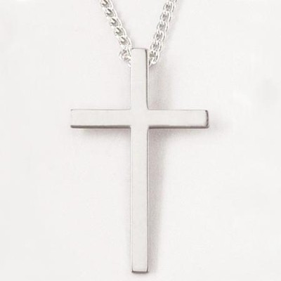 Flat Cross Necklace, Sterling Silver  -