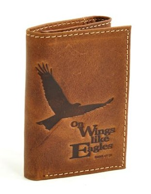 On Wings Like Eagles (Isaiah 40:31) Wallet, Genuine Leather -  Brown  -