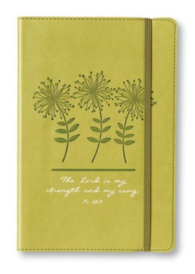The Lord Is My Strength and My Song Lux-Leather Journal, Green, Flowers  -
