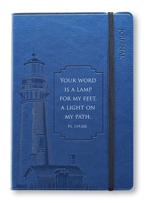 Your Word Is A Lamp For My Feet Lux-Leather Journal, Navy Blue, Lighthouse  -