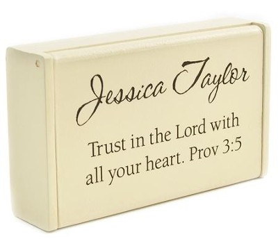 Personalized, Wooden Box, Trust in the Lord, Cream   -