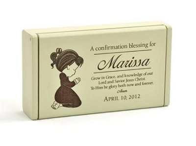 Personalized, Confirmation Wooden Box for Little Girl, Cream  -