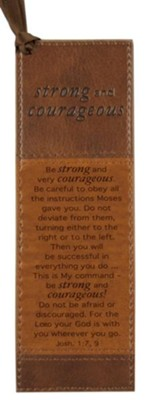 Strong and Courageous Bookmark, Brown  -