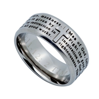 Man of God, Logos Ring Silver, Size 8 6:11)  -