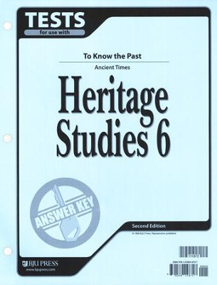 BJU Heritage Studies 6, Tests Answer Key   -