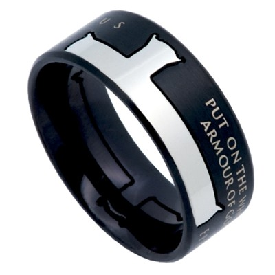 Armor of God Iron Cross Men's Ring Black, Size 14 (Ephesians 6:11)  -