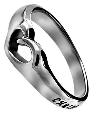 Christ Lives In Me, Mini Heart Ring, Size 8   -