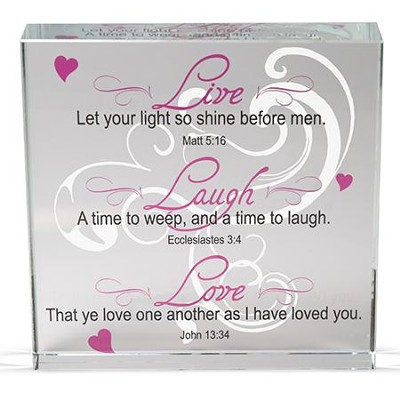 Live, Laugh, Love Glass Block  -