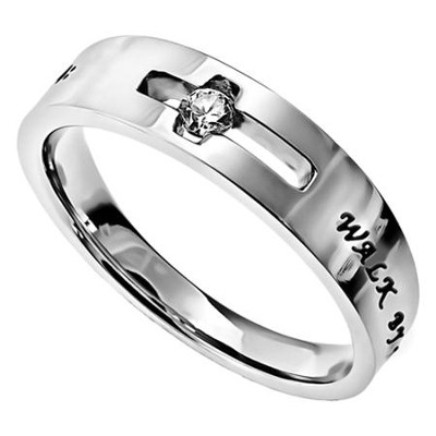 Walk By Faith, Solitaire Ring, Size 7   -