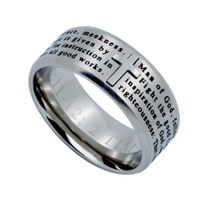 Man of God Logos Men's Ring Silver, Size 12 (1Timothy 6:11)  -