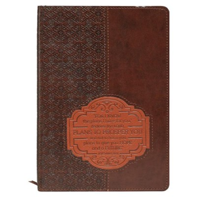For I Know the Plans Lux-Leather Journal, Brown Patch  -