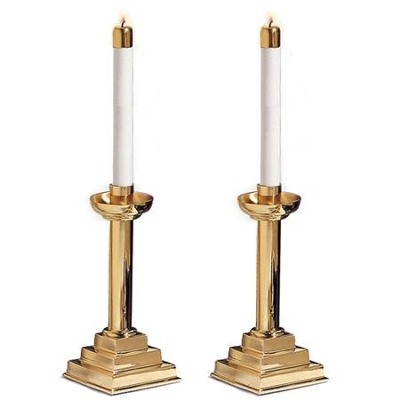 10 in. Brass Candlesticks, Set of 2  -