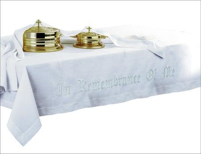100% Linen In Remembrance Of Me Communion Table Cover  -