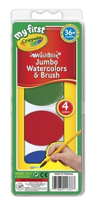 Crayola, My First Crayola, Washable Jumbo Watercolors and Brush  -