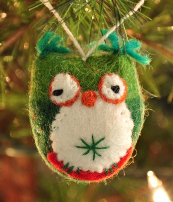 Owl Ornament, Green, Fair Trade Product  -